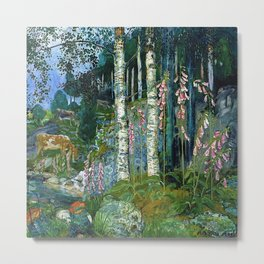 Wilderness Landscape, Wild Foxglove Flowers, White Birch, Stream & Cattle by Nikolai Astrup Metal Print