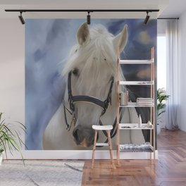 Painted White Horse head Wall Mural