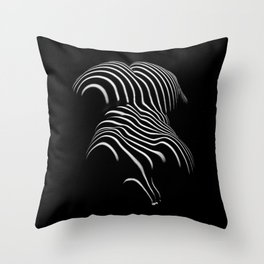 0721-AR Nude Female Naked BBW Geometric Black White Naked Body Abstracted Sensual Sexy Erotic Art Throw Pillow