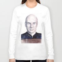 picard Long Sleeve T-shirts featuring Captain Picard by Olechka