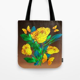 BROWN SHADES YELLOW SPRING ROSES & BUTTERFLIES Tote Bag