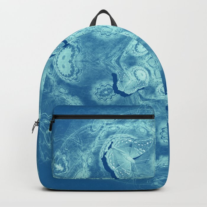 Butterflies and mystical mandala on blue Backpack