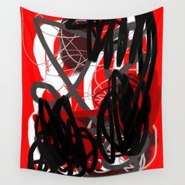 Red, Black & Gray Abstract Wall Tapestry