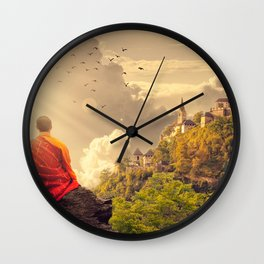 Meditating Monk Wall Clock