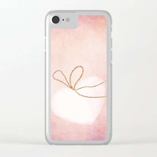 LOVE in pink - Watercolor heart with gold bow on pink backround Clear iPhone Case