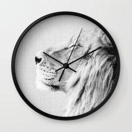 Lion Portrait - Black & White Wall Clock