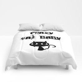 Crazy cat baby Comforters