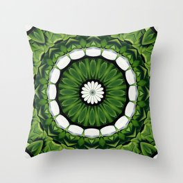 Tropical Green and White Floral Mandala Throw Pillow