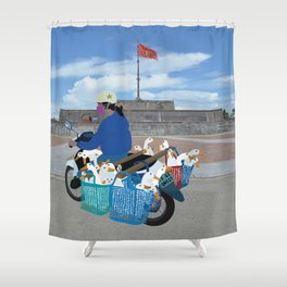 Transporting geese in Vietnam Shower Curtain