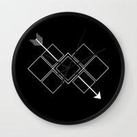 arrow Wall Clocks featuring Arrow by Aonair Designs