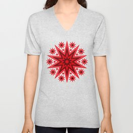 Fiery Red Flashing Fireworks Mandela Stars Unisex V-Neck