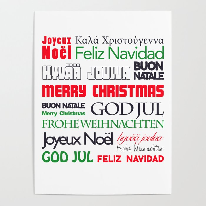Merry Christmas Different Languages.Merry Christmas In Different Languages Ii Poster By Carmenjc