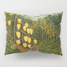 "Henri Rousseau ""Tropical Forest: Battling Tiger and Buffalo"", 1908 Pillow Sham"