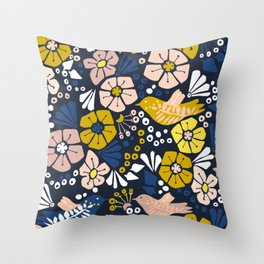 Blue wellness garden - florals matching to design for a happy life Throw Pillow