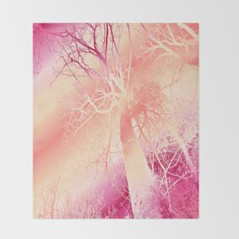 Psychedelic Trees (strawberry-peach) Throw Blanket