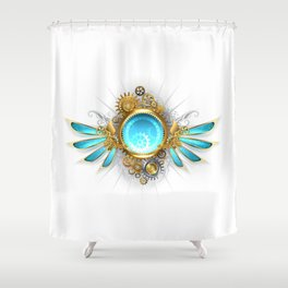 Banner with Glass Mechanical Wings ( Steampunk Wings ) Shower Curtain