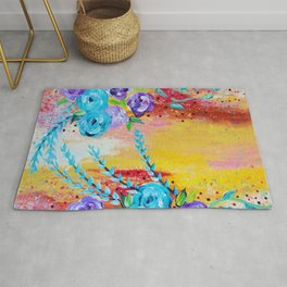 MORE IS MORE - Gorgeous Floral Abstract Acrylic Bouquet Colorful Ikat Roses Summer Flowers Painting Rug