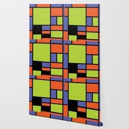 Mondrian style modern cool colors 2 Wallpaper