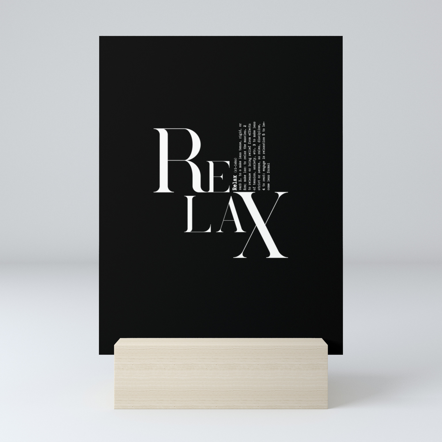 Relax Black And White Lettering Design Mini Art Print by lebensartdesign