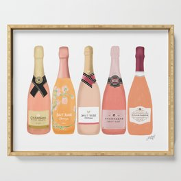 Rose Champagne Bottles Serving Tray