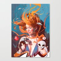 gravity Canvas Prints featuring GRAVITY by Javier G. Pacheco