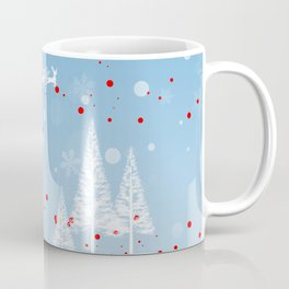Christmas landscape with snow, Santa Claus, mountains and trees Coffee Mug