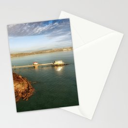 Aerial view of Mumbles pier in Swansea Stationery Cards