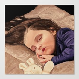Sleeping Little Girl Painting Canvas Print