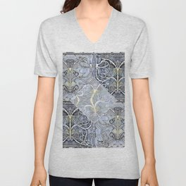 Silver ^ Pewter Butterfly Collage Unisex V-Neck