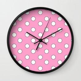 Pink Pastel Polka Dots Wall Clock