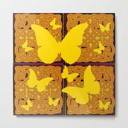 Yellow Butterflies Golden Celtic Patterns Metal Print