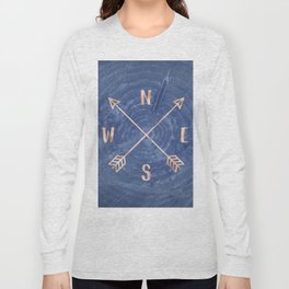 Rosegold and Blue Compass Long Sleeve T-shirt