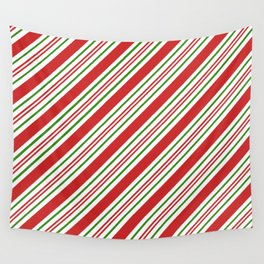 Red Green and White Candy Cane Stripes Thick and Thin Angled Lines Wall Tapestry