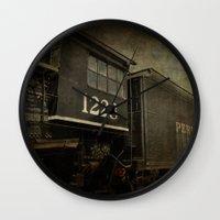 orphan black Wall Clocks featuring Orphan Train by Curt Saunier