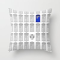 tardis Throw Pillows featuring Tardis by Megan Twisted