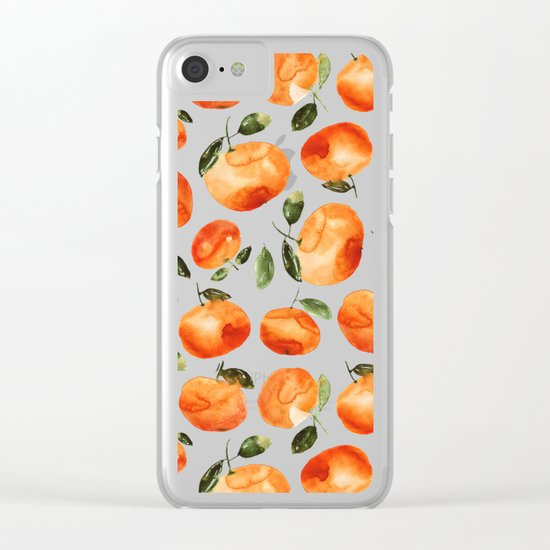 Watercolor tangerines Clear iPhone Case
