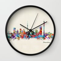 south africa Wall Clocks featuring Johannesburg South Africa skyline by bri.buckley