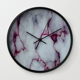 White with Maroon Marbling Wall Clock