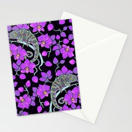 Chameleons and orchids (Gothic) Stationery Cards