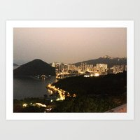 hong kong Art Prints featuring Hong Kong  by Isutave