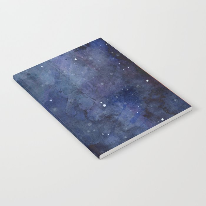 Galaxy Nebula Watercolor Night Sky Stars Outer Space Blue Texture Notebook