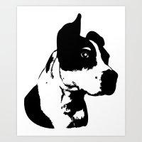 pitbull Art Prints featuring Pitbull Love! by Kristen Lord