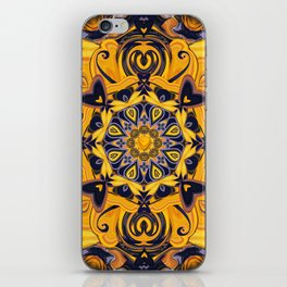 Flame Hearts in Blue and Gold iPhone Skin