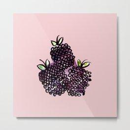 Blackberries (Pink) Metal Print