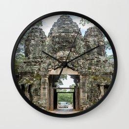 Leaving Through the Angkor Thom South Gate, Siem Reap, Cambodia Wall Clock