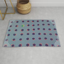Green floats on yellow - dot graphic Rug