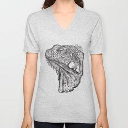 Iguana - Hand Drawn Unisex V-Neck