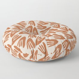 Papier Découpé Modern Abstract Cutout Pattern in Putty and Clay Floor Pillow