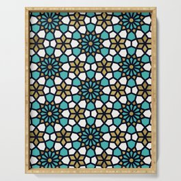 Persian Mosaic – Turquoise & Gold Palette Serving Tray