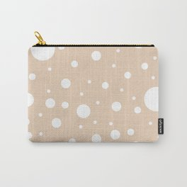 Mixed Polka Dots - White on Pastel Brown Carry-All Pouch